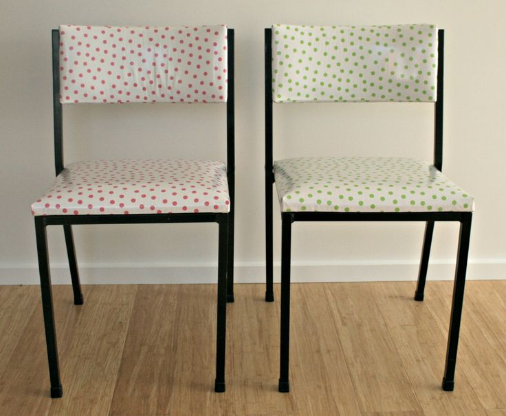 Chairs after, covered in spotted oil cloth.