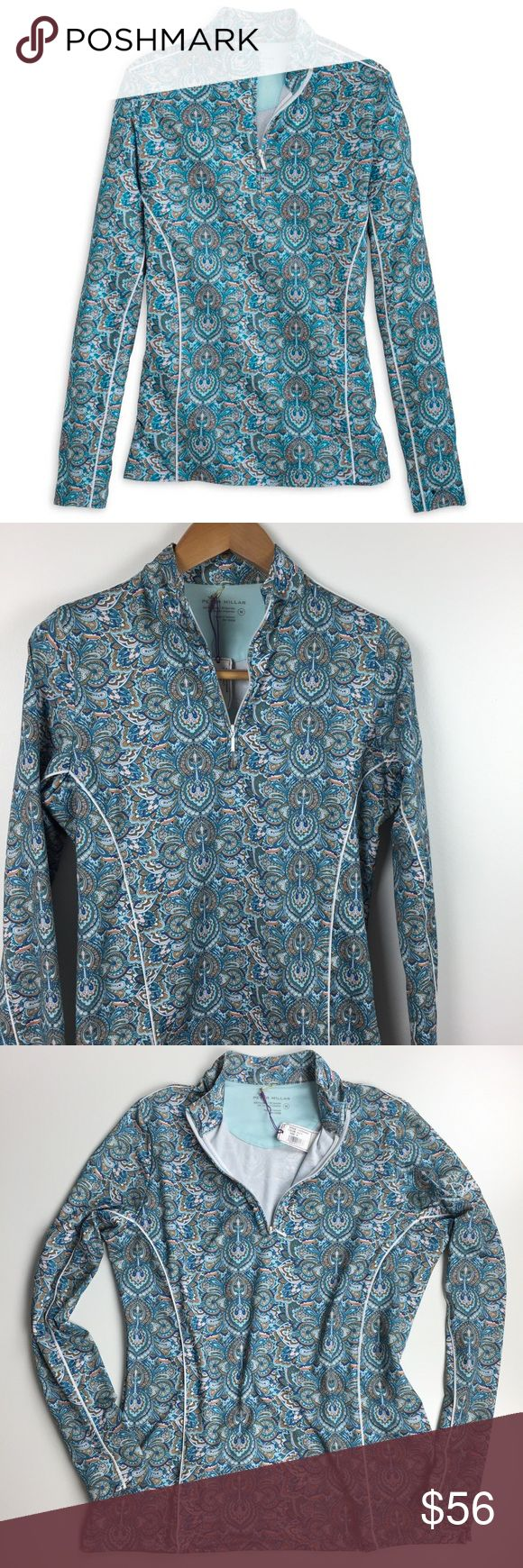 "NWT Peter Millar Sun Comfort Zip-Neck Pullover Peter Millar paisley pullover. Built-in sun protection UPF 50+. Moisture wicking. Opaque. Extremely breathable and comfortable to wear on sunny days. Beautiful blue paisley print. Bust 39"". Perfect golf pullover! Peter Millar Tops"