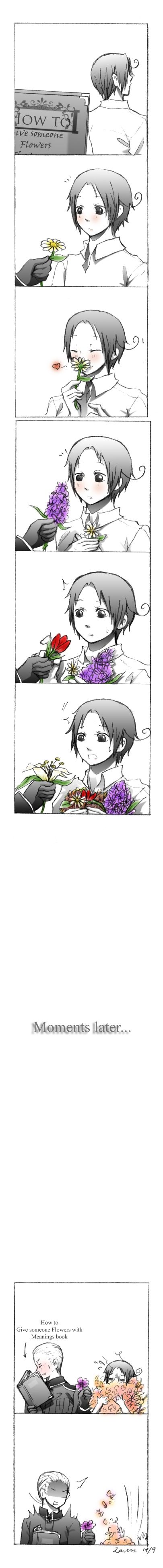 SO CUTE! ♡ - APH: How to give flowers by RavenWolf-1827.deviantart.com on @deviantART