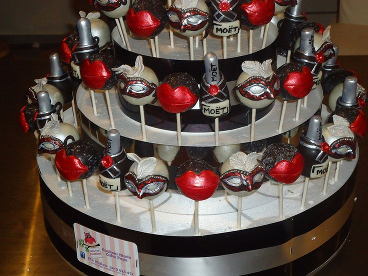 Black silver red masquerade cake pops cake pops - Black silver and white party decorations ...
