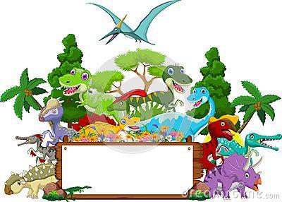 Desenhos animados do dinossauro com fundo da paisagem e sinal vazio