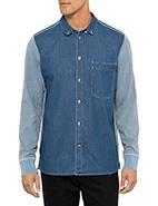 Paul Smith Long Sleeve Denim Shirt W Sweat Sleeves   #davidjones #paulsmith #denim #blue