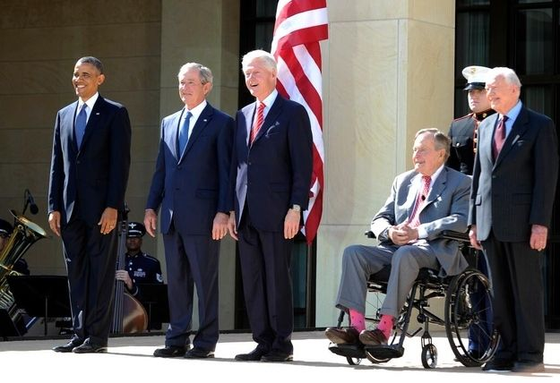 All five living US presidents gather for the opening of the George W. Bush Presidential Library and Museum.