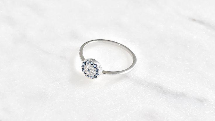 Sterling silver evil eye ring bohchicstore.com