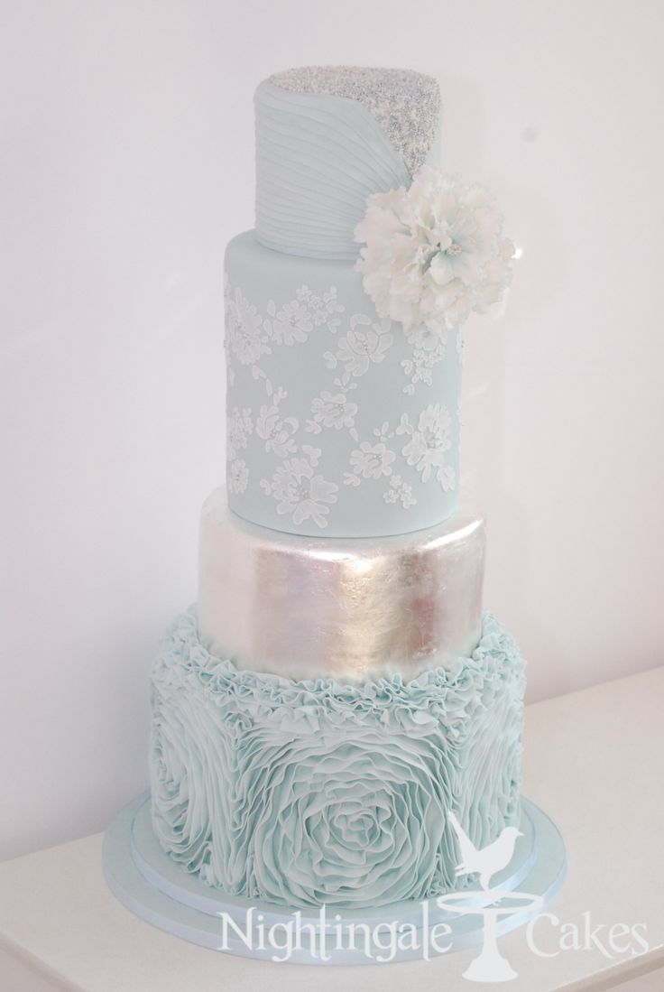 Pale Blue Wedding Cake With Silver Accents Lace