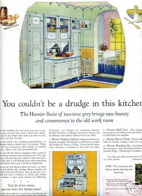 1920's kitchen colors. I saw a Hoosier cupboard for sale once and it was complete like this advertisement. With the side cupboards and all.