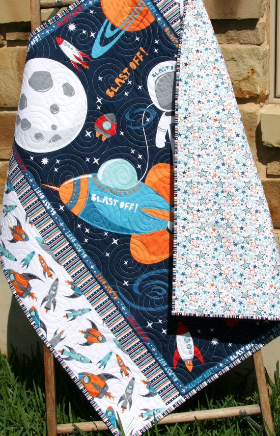 Boy Quilt Kit Blast Off Wilmington Fabrics by SunnysideFabrics