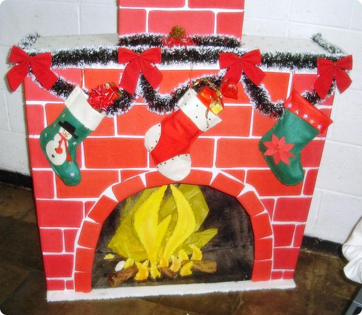 Chimenea de carton navide a buscar con google cositas del cole pinterest search - Como decorar un salon en navidad ...