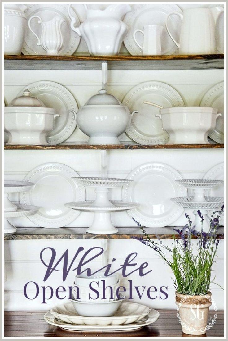 WHITE OPEN SHELVES-easy way to arrange open shelves