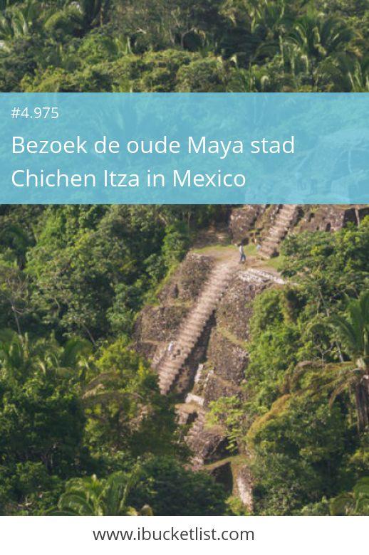 Bezoek de oude Maya stad Chichen Itza in Mexico. In het Noorden van de Mexicaanse staat Yucatán ligt de Maya-stad Chichén Itzá. Deze stad was een van de belangrijkste steden van de Maya's en staat op de werelderfgoedlijst van UNESCO. Er zijn verschillende tempels, pleinen en bouwwerken te bewonderen. De bekendste is de trappiramide met 365 treden, net zoals de dagen in een jaar. Waarom wachten tot later, boek nu een reis naar Mexico. Maar nu je dromen waar. Wij helpen je daar bij.
