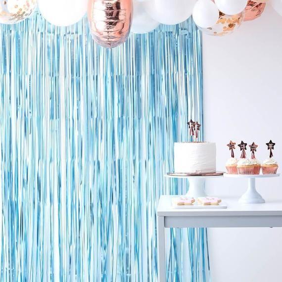 Light Blue Foil Fringe Curtain Decoration Boys Baby Shower Decor