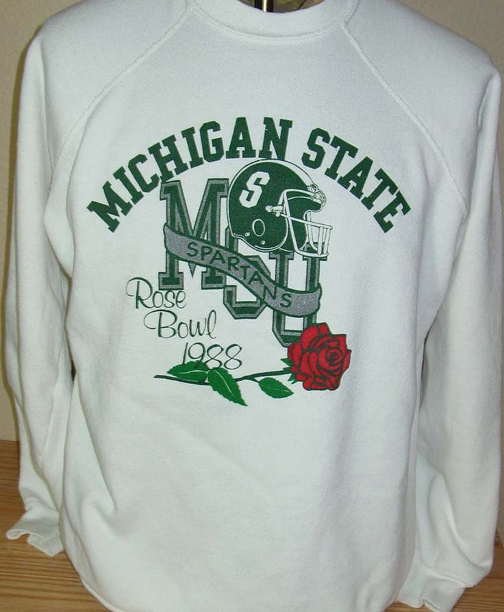 Vintage 1988 Michigan State Spartans rose bowl football sweatshirt Large by vintagerhino247 on Etsy