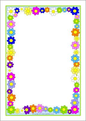 Flowers A4 page borders (SB10393) - SparkleBox