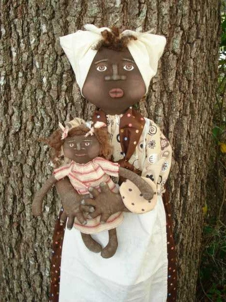 Handmade Primitive Black Mammy Doll with Baby Girl Doll