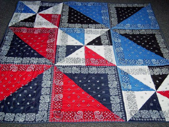 Handmade-Windy Bandanna's-Quilt-Patchwork-Quilt-Throw-Lap- Bed- Made in USA by  MJ Quilts