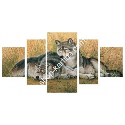"""Большая модульная картина на холсте """" Два волка """""""