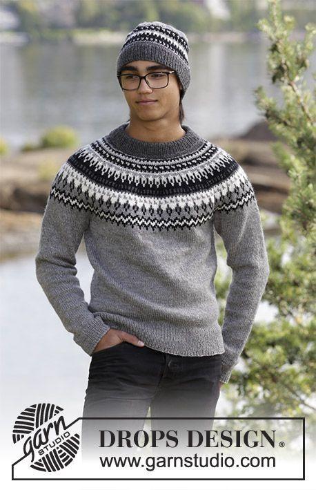 Dalvik / DROPS 185-1 - Sættet består af: Strikket bluse med raglan, rundt bærestykke og nordisk mønster, og strikket hue til herre. Størrelse S - XXXL. Arbejdet er strikket i DROPS Karisma.