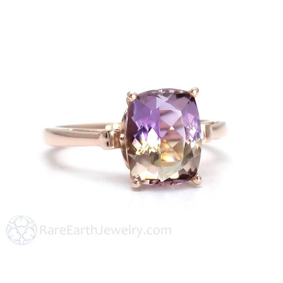 Fleur de Lis Ametrine Ring Cushion Cut Gemstone Ring in 14K or 18K White Yellow Rose Gold Purple Gemstone Ring