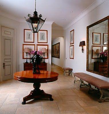Lantern, table, large mirror - Nicky Haslam Interiors