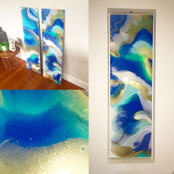 C R U I S I N G  I & II Commissions now in their forever home niches! Loved creating these vibrant custom made resin pieces for a wonderful couples beautiful home!  Cobalt Blue - Gold - White - Turquoise - Resin on custom boards.    Contact me if you'd like your own custom made piece!