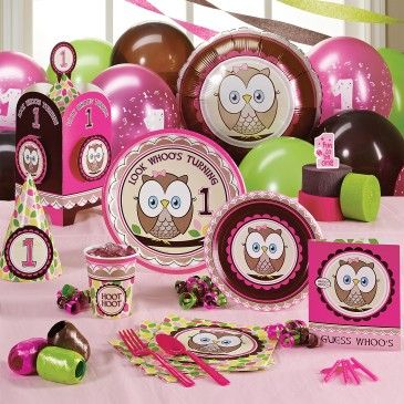 """Avery's first birthday theme. """"look whoo's turning one"""""""