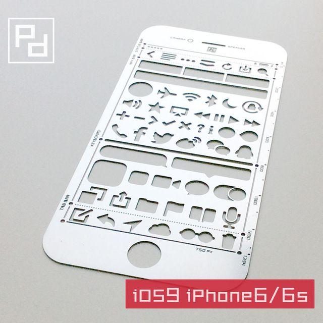 Aço inoxidável tamanho ios9 iphone 6/6 s ui web template diy projetos web template régua de desenho gráfico para filofax planejador agenda