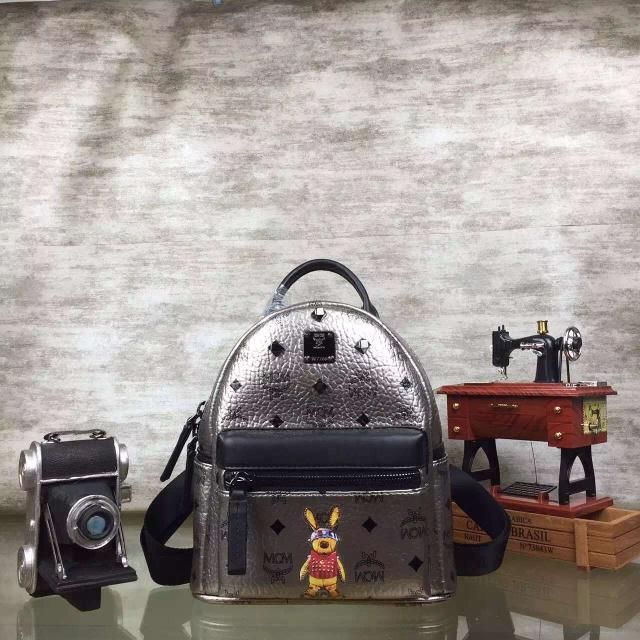 MCM Mini Rabbit Stark Oden Studded Backpack In Silver