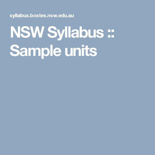 NSW Syllabus :: Sample units