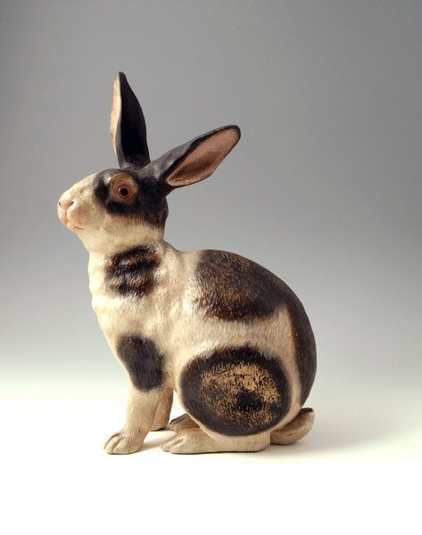 Teracotta figure of a rabbit probably Goldscheider Wien Austria late 19th century