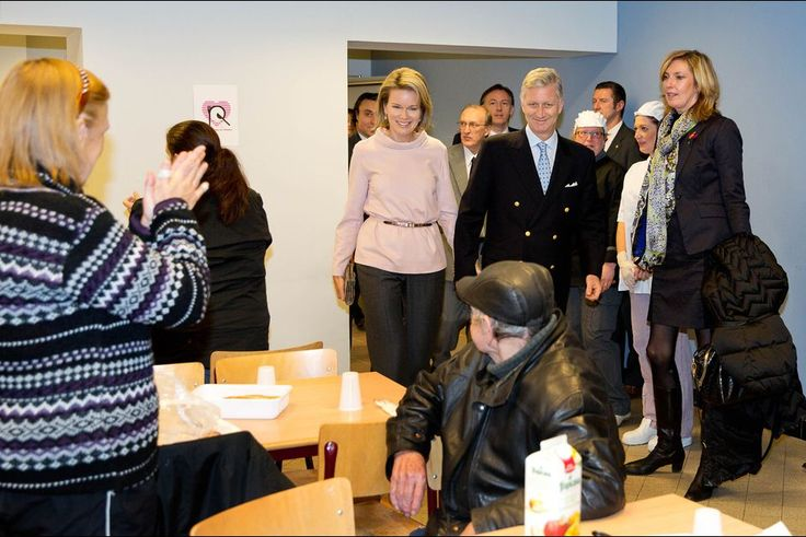 "King Philippe and Queen Mathilde visited the ""Resto du Coeur"" of Charleroi. 15th December 2015"