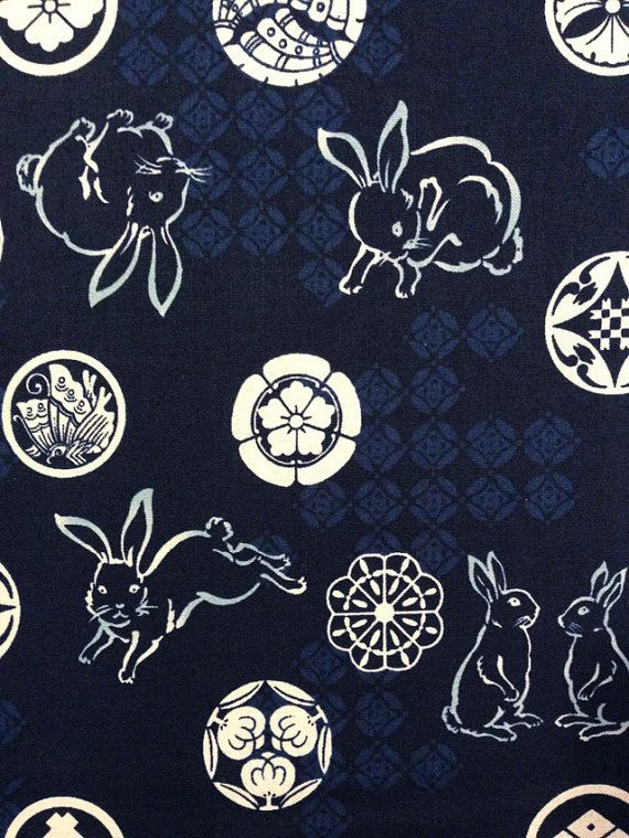 Japanese wagara quilt cotton yardage Indigo Bunny Crest Blue on Etsy, £4.43