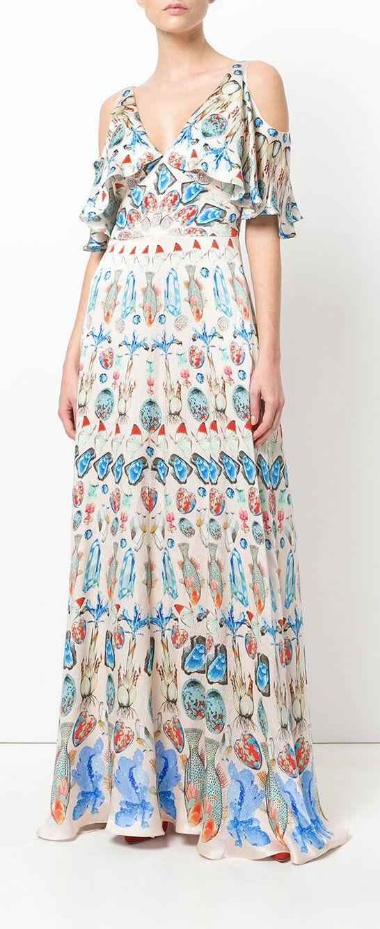 Temperley London Printed Cold Shoulder Maxi Dress