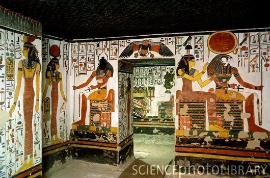 Egypt, tomb of queen Nefertari. It is one of the best preserved and most ornate of all known tombs. The walls are painted with the deities (from left to right) Serket, Isis, Khepri, Osiris (above entrance), Hathor and Horus. The tomb was discovered in 1904 by the Italian archaeologist Ernesto Schiaparelli. In 2003 the tomb was closed to the general public.