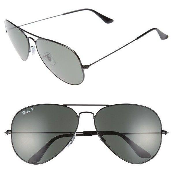 Women's Ray-Ban Original Aviator 62Mm Polarized Sunglasses ($200) ❤ liked on Polyvore featuring accessories, eyewear, sunglasses, polarized lens sunglasses, ray ban glasses, ray ban aviator, aviator eyewear and aviator glasses