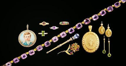 2014 - 11th Edition Page three: Eye candy! Georgian, Victorian, Etruscan Revival, Amethyst, Peridot, Sapphire and seed pearls.....what more could you want!  The DEAREST ring is hallmarked Birmingham 1866