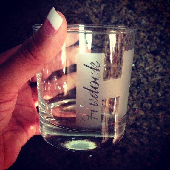 Round etched monogram glass // whiskey bourbon by CarolinaCrazy, $8.00