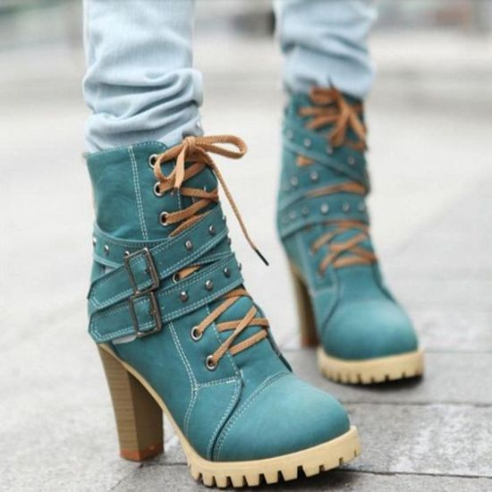 Top Lace up high heal ankle boots trends 2016-2017