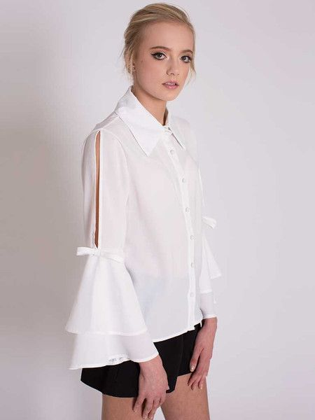 Dahlia Gina White Tulip Sleeve Organza Top with Open Sleeves
