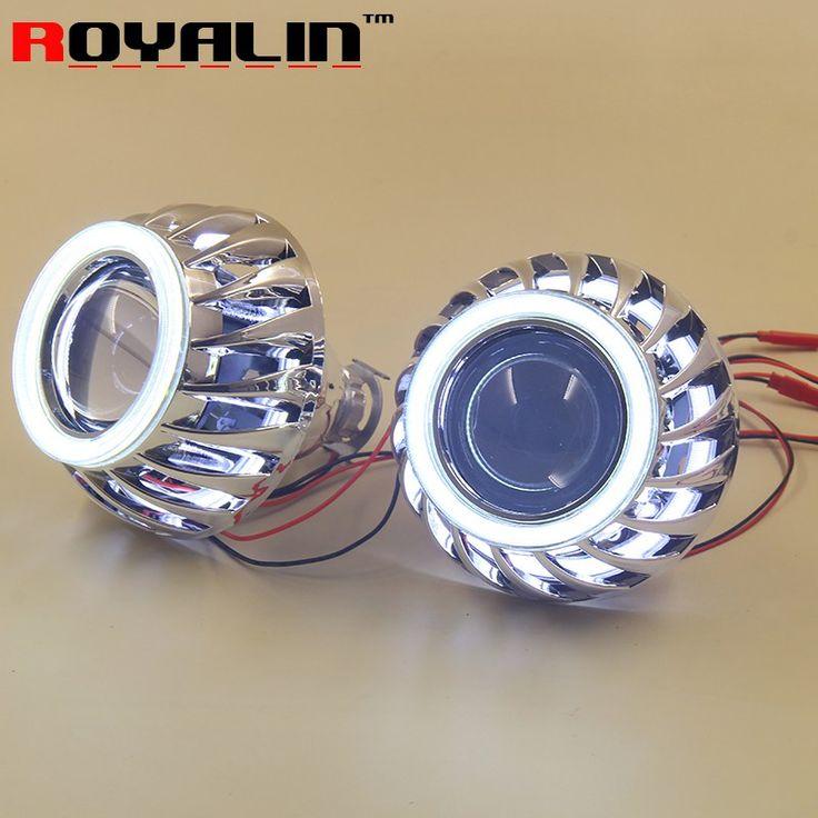 Cheaper US $49.19  ROYALIN LED COB Angel Eyes Halo Rings HID H1 Bi xenon Mini Projector Headlight Lens 2.5'' Mask for H4 H7 Car Lights Retrofit