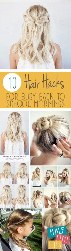 10 Hair Hacks for Busy Back to School Mornings  Hair Hacks, Back to School Hair Hacks, Hair, Back To School Hacks, Morning Hacks, Hair, Hair Ideas, Girls Hair Ideas, Popular Pin. #backtoschool #hairstyle #hairstylesforkids #kidstuff #backtoschooltips