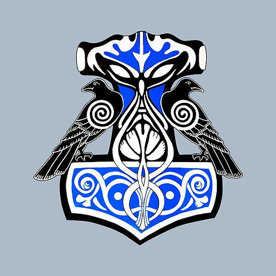 Thor's hammer design that is adorned with 2 raves looking out so that He and his pets can see all that are before them. The ravens feature the changing eyes of the shape shifter and its wing are shown with the sacred spiral that is prevalent in forth Norse and Celtic culture and designs.  Design is blue, black and white. This was originally painted on wood and then posterized for display her and on the items that it is set up for.