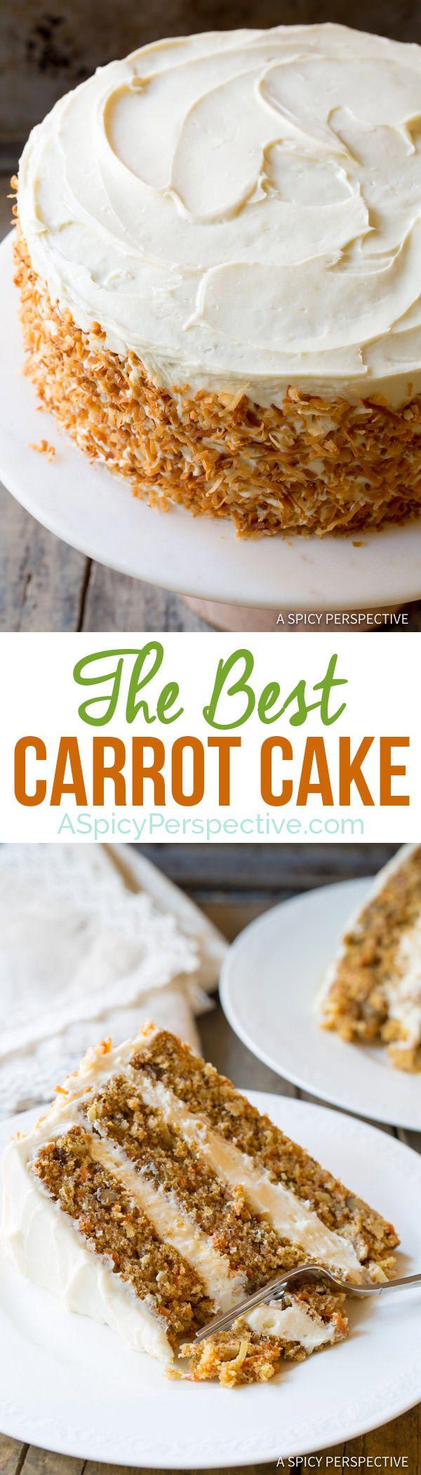 A must make! The Best Carrot Cake Recipe   ASpicyPerspective.com