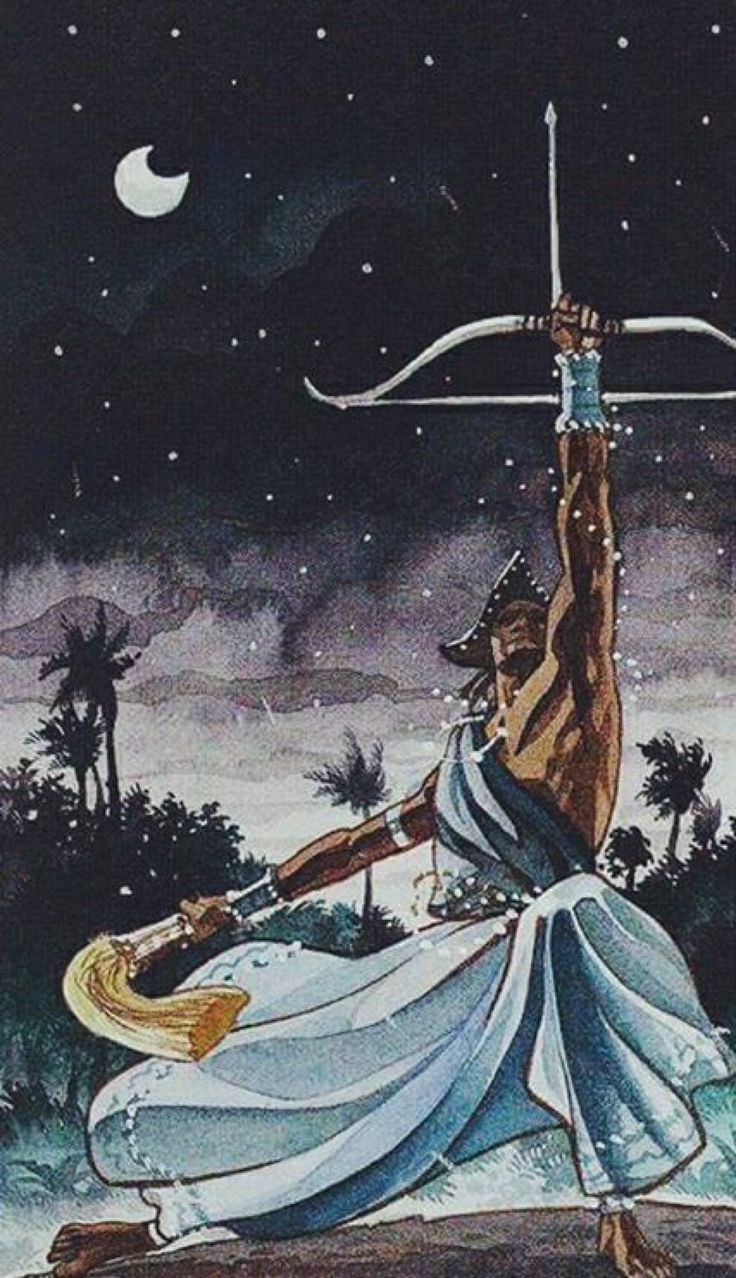 """""""Que a flecha de Oxóssi"""" Oke Aro, oke aro. Que a flecha de Oxóssi aponte para onde eu devo seguir. Que a flecha de Oxóssi seja a minha estrela-guia. Que a flecha de Oxóssi vá rompendo minha..."""