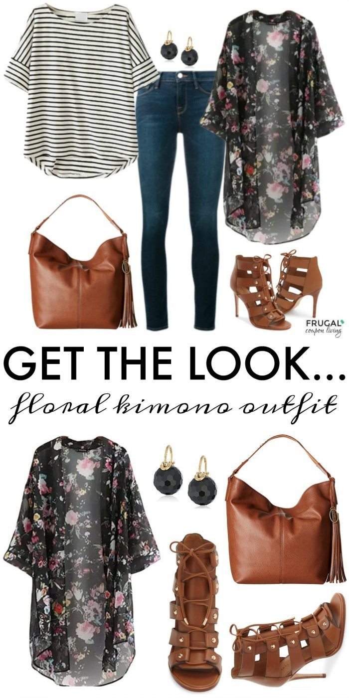 Frugal Fashion Friday Floral Kimono Outfit on Frugal Coupon Living. Outfit of the Day for Spring. We love the mix of brown and black hues.