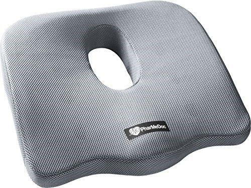 PharMeDoc Coccyx Seat Cushion -Sciatica Pillow for Back Pain - #1 Memory Foam Pillow for Sciatica Relief - New & Improved 2016 Design - Car Seat Cushion / Wedge - Office, Travel, Wheelchair & more | Jet.com