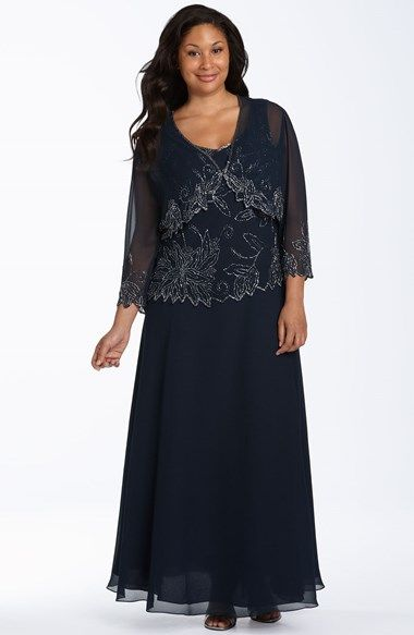 Free shipping and returns on J Kara Beaded Dress & Sheer Jacket (Plus Size) at Nordstrom.com. Silvery beads trace a botanical pattern on the bodice of a diaphanous dress and a sheer jacket shaped with a flyaway hem.