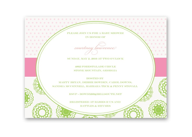 Pink and green invitations for Catie's bridal shower