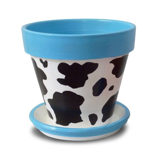 """Hand Painted Flower Pot  """"Moo Pot"""" Whimsie Pot  by Michele Cordaro Design, $18.00.  http://MicheleCordaroDesign.etsy.com"""