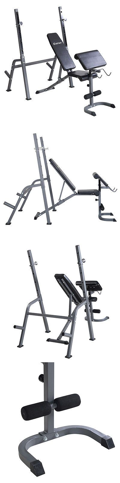 Benches 15281: Costway Adjustable Weight Lift Bench+Rack Set Fitness Barbell Dumbbell Workout BUY IT NOW ONLY: $99.99