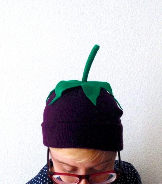 Eggplant Beanie - Child or Adult Halloween Vegetable Costume - Aubergine Hat